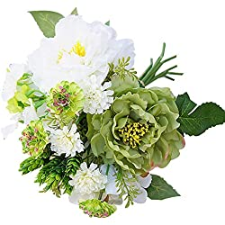 HuhuswwBin Künstliche Blumen, 1 Blumenstrauß künstliche Pfingstrose Hortensien für Gartenpflanzen Blumen DIY Heimdekoration weiß/grün