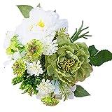 Ukallaite realista hermosa flor artificial 1 ramo de flores artificiales de hortensia peonía artificial para decoración del hogar, color blanco y verde, White Green