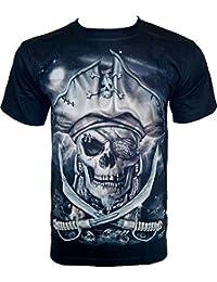 Rock Chang T-Shirt * Pirate Skull * Glow In The Dark * Noir GR469