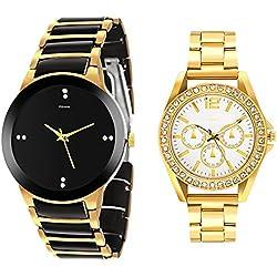 Kitcone Jewellery Bracelet Style Gold Pleated Belt Women's Watch Men's Watch -Type-85 (PACK OF 2)