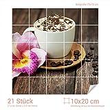 Graz Design 765277_10x20_70 Fliesenaufkleber Kaffee/Sahne/Orchideen-Blüte | Küchen-Fliesen mit Folie überkleben (Fliesenmaß: 10x20cm (BxH)//Bild: 70x70cm (BxH))