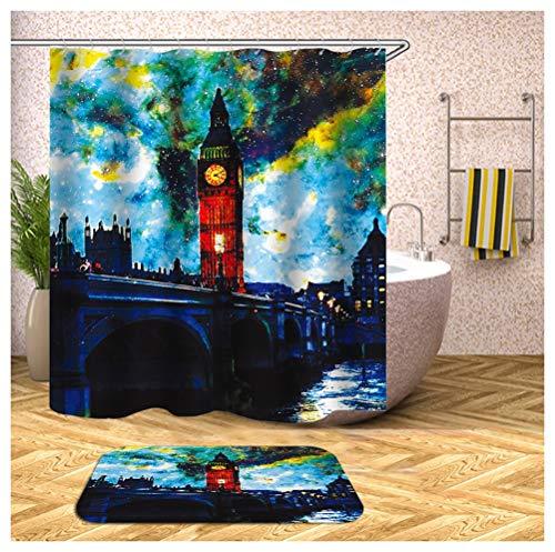 Home-bathroom tenda della doccia, paesaggio, tenda da doccia naturale della doccia del bagno di stampa 3d della camera da letto della colata piena di sole (colore : c, dimensioni : w150cm*l180cm)