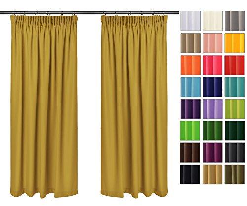 Rollmayer 2er Pack Vorhänge mit Bleistift Kollektion Vivid (Senf 8, 135x150 cm - BxH) Blickdicht Uni einfarbig Gardinen Schal für Schlafzimmer Kinderzimmer Wohnzimmer 2 Stück - 36 Vorhänge Wohnzimmer