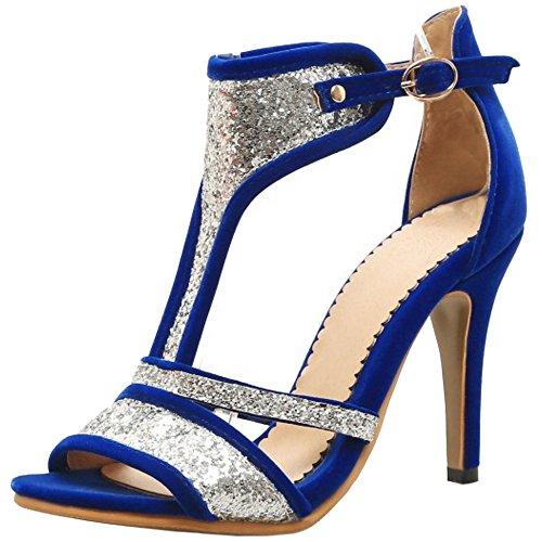 TAOFFEN Femmes Peep Toe Bottillons Sandales Aiguille Talons Hauts Ete Chaussures Bleu