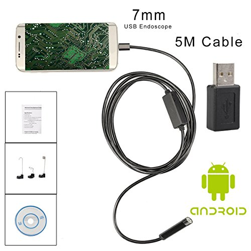 Preisvergleich Produktbild Endoskopkamera Android HD,Flylinktech Rohrkamera Kanalkamera 5M Inspektionskamera Wasserdicht Halbsteif 7mm Handy Micro Mini USB Endoskop Kamera Schwanenhals