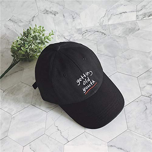 zlhcich Street Soft top Fashion Buchstaben Baseball Hut männer und Frauen Casual Summer Cap Visier schwarz M (56-58 cm) (Mädchen Blaue Polizei Offizier Kostüm)
