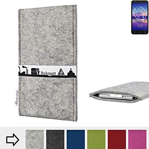 flat.design für Alcatel U5 HD Single SIM Schutzhülle Handytasche Skyline mit Webband Ruhrpott - Maßanfertigung der Schutz Tasche Handycase aus 100% Wollfilz (hellgrau) für Alcatel U5 HD Single SIM