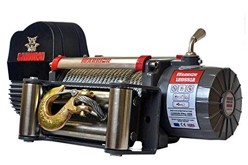 Seilwinde elektrisch 12V mit Funk (Funkfernbedienung) 5,4t Warrior Samurai S12000 Stahlseil – Winde für Anhänger, Auto & PKW