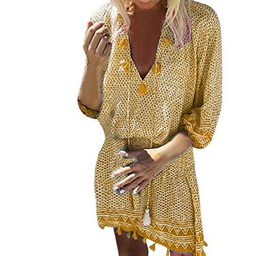 CANDLLY Kleider Damen, Mode Sommer V-Ausschnitt Strandkleid Rockabilly Frauen Langärmelige Kleid Petticoat Böhmische Quaste Lässig Strand Drucken ()
