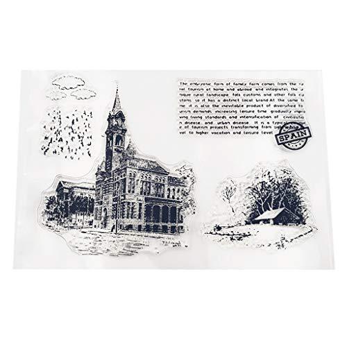 Lifet DIY Silikon Clear Stamp Schloss, Silikonstempel Transparent Cling Siegel Sammelalbum Klar Stempel Blatt Scrapbooking Prägung Album Dekor -
