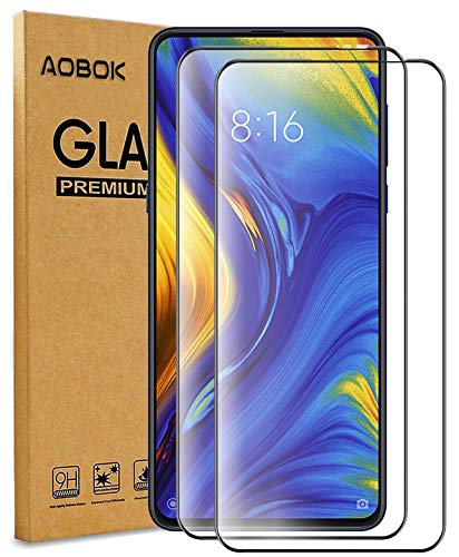 AOBOK [2 Stück, Xiaomi Mi Mix 3 Panzerglas Folie, Xiaomi Mi Mix 3 Displayschutzfolie, (Volle Abdeckung, Blasenfrei, HD Klar) 9H Härte Schutzfolie für Xiaomi Mi Mix 3 Smartphone