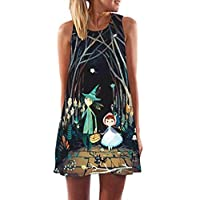 Vintage Halloween Dress Kanpola Ladies Loose Sleeveless 3D Vintage Digital Floral Printed Round Collar Dresses