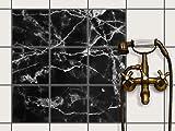 creatisto Dekor-Fliesen, Badfliesen | Fliesentattoo Küche Bad ergänzend zu Kühlschrankmagnet Wandtattoo | 20x20 cm Design Motiv Marmor schwarz - 9 Stück