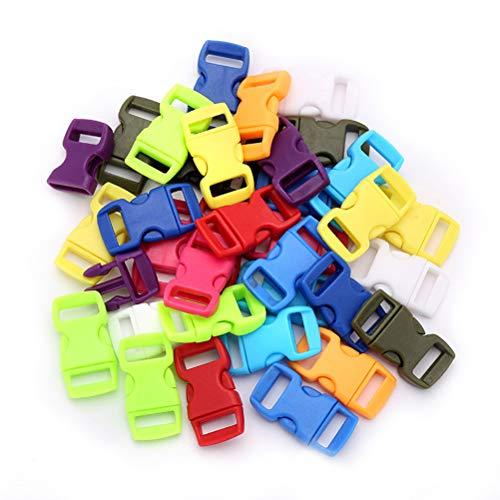 Vosarea 50 stücke Kunststoffband Schnallen Einstellbar Mehrfarbige Seitenverschluss Schnallen Clips für Rucksack Paracord Armbänder Hundehalsbänder Gurtband -