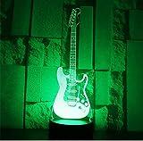 Guitarra eléctrica de luz LED 3D con luz de 7 colores para lámpara de decoración del hogar Visualización increíble Ilusión óptica Impresionante
