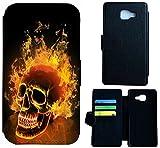 Flip Cover Schutz Hülle Handy Tasche Etui Case für (Samsung Galaxy A5 (Modell 2016) A510, 1479 Totenkopf Skull Feuer)