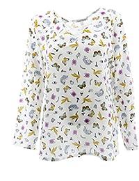 Tripulación de Manga Larga de Cuello V-Cuello de Camisa de la Blusa de Las