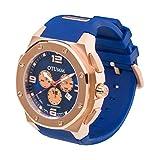 OTUMM - 07222 - Montre Homme - Quartz - Chronographe - Chronomètre - Luminescent - Aiguilles - Bracelet Silicone Bleu