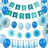 Genmer Geburtstagsdeko, Kindergeburtstag Deko, Geburtstagsparty Dekoration, 31 Stücks mit 6 Papierfächer + 4 Papierblumenball + 10 Quasten + 10 Ballons + 1 Happy Birthday Banner - Blau, Weiß
