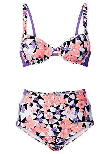 WanYang Damen Bandage Push Up Padded Drucken Badeanzug High Taille Zwei Stück Bikini # - 1