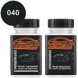 TRISTARcolor Autolack Lackstift Set für Mercedes/Daimler Benz 040 Tiefschwarz/Deep Black Basislack Klarlack je 50ml