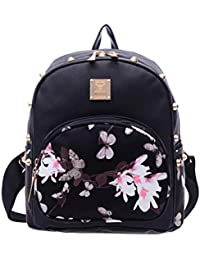Donalworld Girl Floral School Bag Travel Cute PU Leather Mini Backpack