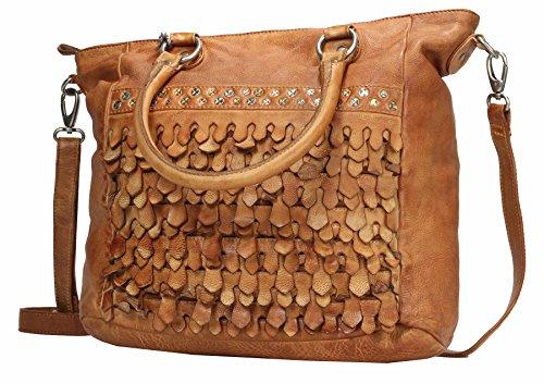 Billy the Kid Reptile Shopper Tasche Leder 41 cm Camel