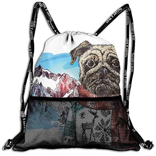 EELKKO Mesh Beam Backpack Lightweight Foldable Large Capacity Drawstring Casual Rucksack, Sketch Style Dog with Winter Clothes Scarf Sweater Mountains Background Open Sky Image,Unisex Fitness Bag Jordan Womens Sweatshirt