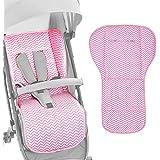 AUTOECHO - Alfombrilla Reversible de algodón Puro Universal para Asiento de bebé para Todos los carritos – Cojín Universal para Asiento de bebé – Apto para Cuatro Estaciones, Rosa,