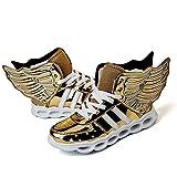 LED Leuchten Schuhe Turnschuhe Laufschuhe für Kinder Jungen Mädchen 4 Farben Blinkende Flügel Sportschuhe (EU 34, Golden)