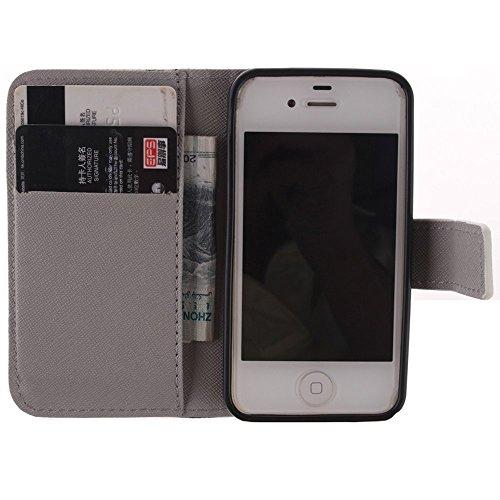 Housse iPhone 4S,Etui Coque Strass Case Protecteur Étui en Cuir Pour iPhone 4 4S Coque Portefeuille Housse de Protection Flip Case Cover - Pissenlit Triangle coloré
