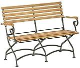 Dehner Klappbank Tegernsee 2-Sitzer, ca. 124 x 88 x 57 cm, FSC Akazienholz/Edelstahl, Natur Klappstuhl