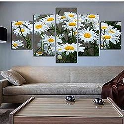 shuyinju Lienzo Decoración para el hogar Marco de la Pintura Cuadros Modulares HD Impreso 5 Panel Margarita Blanca Flores de Girasol Cartel Sala de Arte de La Pared-40x80cmx2 40x100cmx1