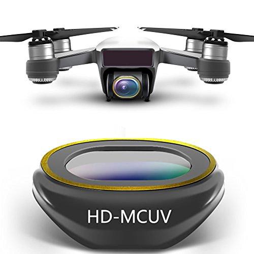 Rantow Kardanische Kamera Mehrbeschichtetes HD-Linsenfilterset für DJI Spark Drone, Klick-Design Kein Werkzeug benötigt UV CPL Polarisator ND4 ND8 ND16 ND32 Neutrale Dichte (HD-UV)