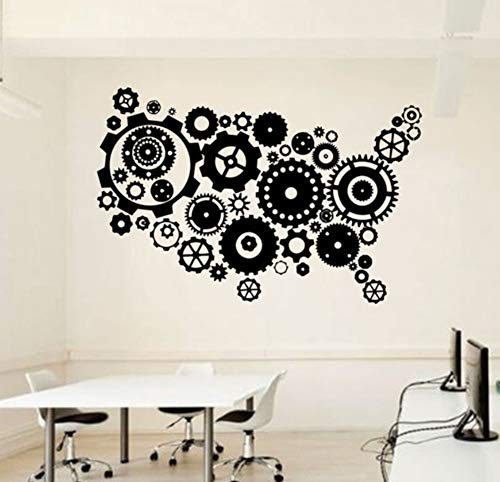Mrlwy Wandaufkleber Büro USA Karte Wandtattoo Idee Teamwork Business Worker Inspire Büro Dekoration Aufkleber Wandbild Geschenk 63x42cm