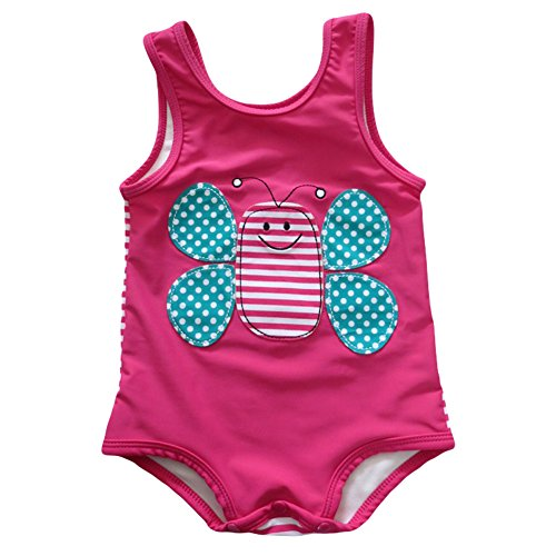 LOSORN ZPY Mädchen Badeanzug Einteiler Biene Mehrfarbig Kleinkind Süßes Swimsuit Strand (6-12 Monate, Rose)