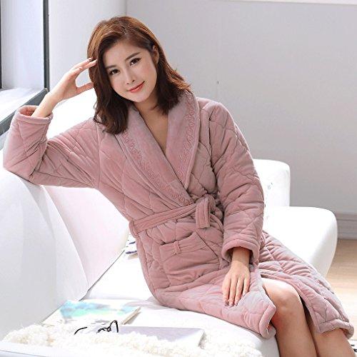 Bademäntel Winter-Saison-Dame Plus Cotton Sleep Robe mittleren Langen Abschnitt Verdickung warmen GAODUZI (Farbe : Bunte, größe : XL)