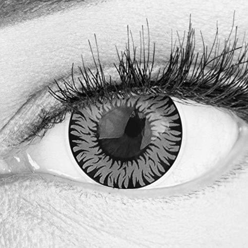 Farbige Graue Kontaktlinsen Anime Werewolf Gray Circle Lenses Ohne Stärke Heroes Of Cosplay Stark Deckend Intensive Farben mit gratis Linsenbehälter farbig für Halloween Fasching