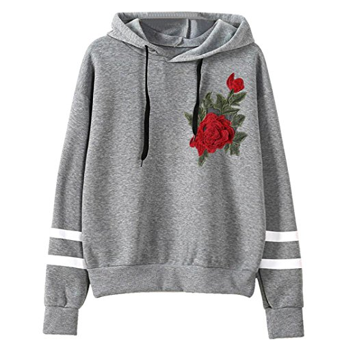 Zolimx Frauen Embroidery Applique Langarmshirt Hoodie Pullover Sweatshirt (S, Grau) (Applique Hoodie)