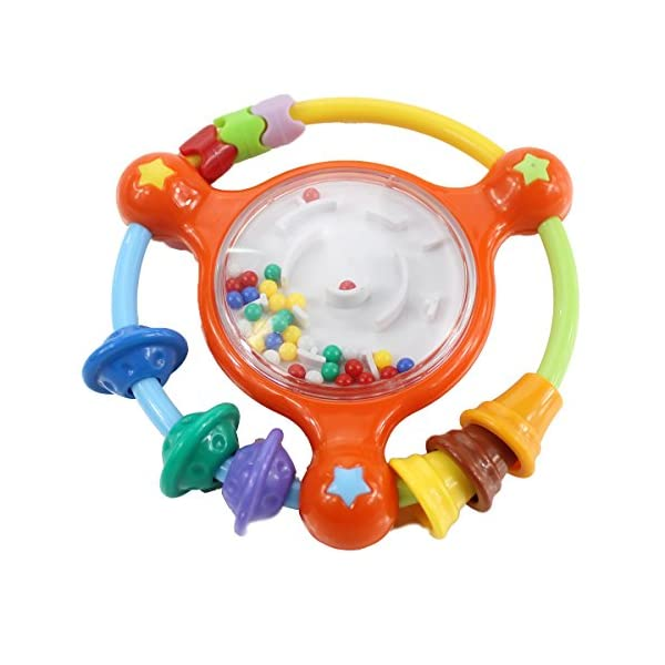 Hugine Baby Rattle Toy with Mirror Toddler Rattle Sand Hammers Sound Toys for Baby Different Months of Baby Educational Toy Shaking Bell Rattle Set for Infant 1