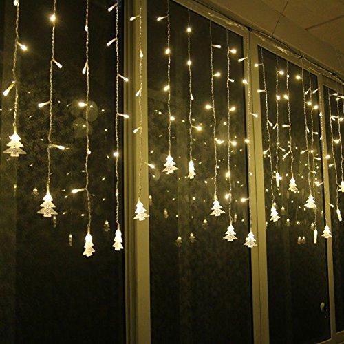 Lianqi 3.5M warme weiße 96LED Vorhang Lichter, Chtistmas Baum Stil Vorhang Lichter, 8 Modi, EU-Stecker, Linkable Design, LED Eiszapfen Lichter für Weihnachten/Hochzeit/Party/Neujahr Dekorationen (Licht Eiszapfen-stil,)