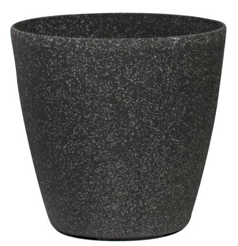 Pietra Luce Serie SL 43 centimetri Fusioni pietra rotonda Planter - invecchiato Nero Sandstone (confezione da 4)
