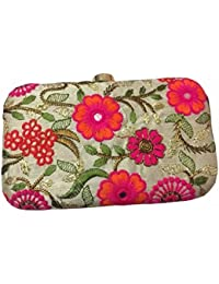 Tooba Women's Clutch Hand Embroidered Floral & Leaf Designby Bright Colorful Threads on Golden Silk Febric Specially Designed for Parties/Wedding/festivals/Casual and special evenings ( white with multi flower 6x4)