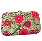 Tooba Women's Clutch ( white with multi flower 6x4)