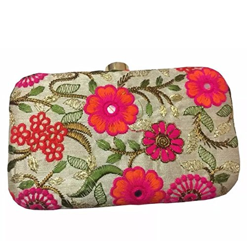 Tooba Handcrafted NMEO Women's Box Clutch (Beige)
