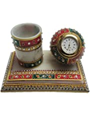 eCraftIndia Meenakari Pen Stand with Watch (6 in, White, Green and red)