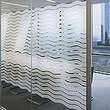 Lemon Cloud Fensterfolie Streifen Selbst für Amt Dekoration und Sichtschutz, Wellen Muster 45cmx200cm