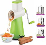 #10: Vegetable Rotary Grater - Vegetable Cutter - Cheese Cutter Slicer - Fruits Slicer - Chocolates Grinder - Dry-Fruits Grinder for Desserts - Pasta Salad Maker - Chips Cutter - Shredder Grinder - 3 Interchanging Ultra Sharp Stainless Steel Blades - 100% Virgin Plastic - Poly-Carbonate Unbreakable Body - EFFORTLESS AND SAFE - MULTIPLE FUNCTIONS IN ONE TOOL - EASY TO USE - WITH VACUUM SUCTION FOR BETTER GRIP - DIRECTLY FROM THE MANUFACTURER - PROUDLY MAKE IN INDIA