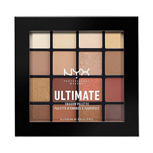 NYX Professional Makeup, Palette Ombretti Ultimate Shadow ,Pigmenti pressati, 16 tonalità, Effetto opaco, Satinato, Metallico, Tonalità: Warm Neutrals