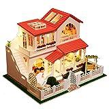 Momola Hölzern DIY Puppenhaus,Puzzle Dekorieren Kreative Pädagogisches Spielzeug,Pink Dream House...